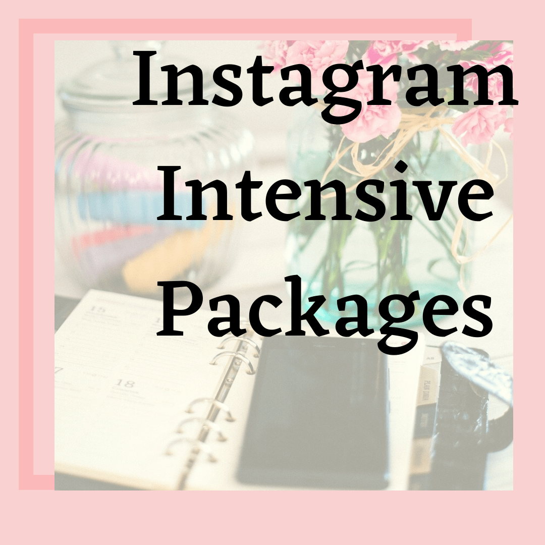 pink background with calendar and cellphone says instagram intensive packages