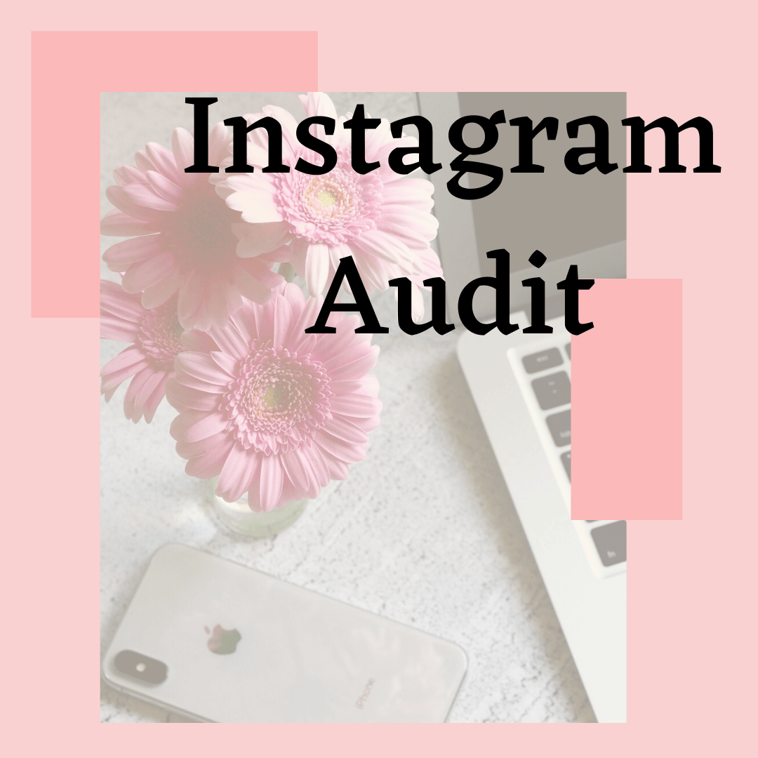 pink background with daisies and cell phone says instagram audit